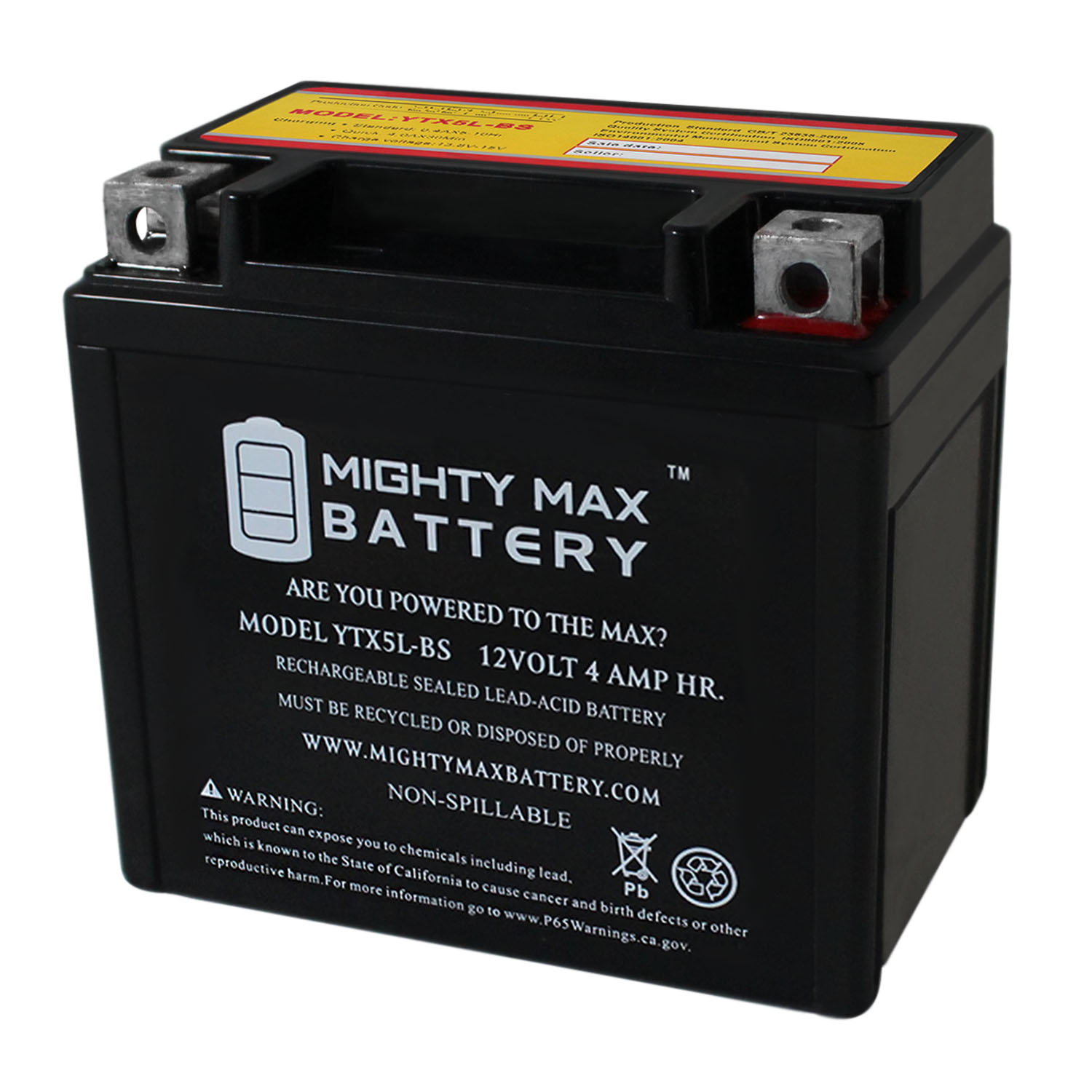 YTX5L-BS 12V 4AH Battery for Motocycle ATV Snowmobile Mower PWC