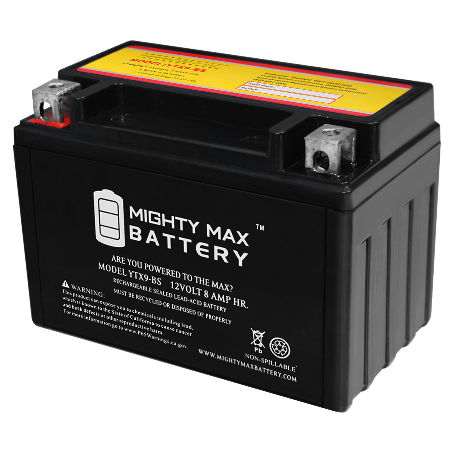 YTX9-BS - 12V 8AH SLA for Power Sports Battery