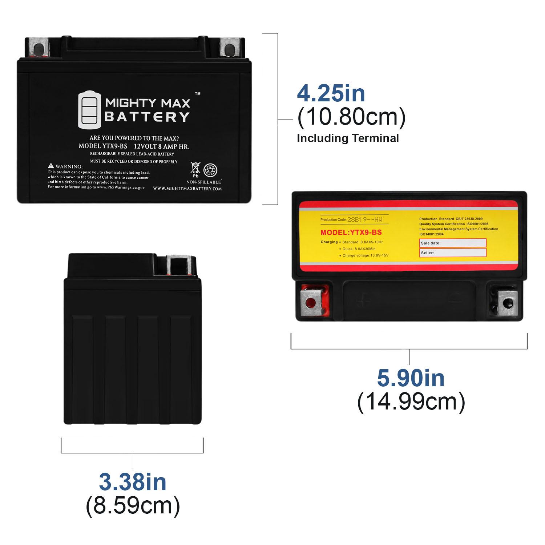 YTX9-BS - 12V 8AH SLA for Power Sports Battery - 1