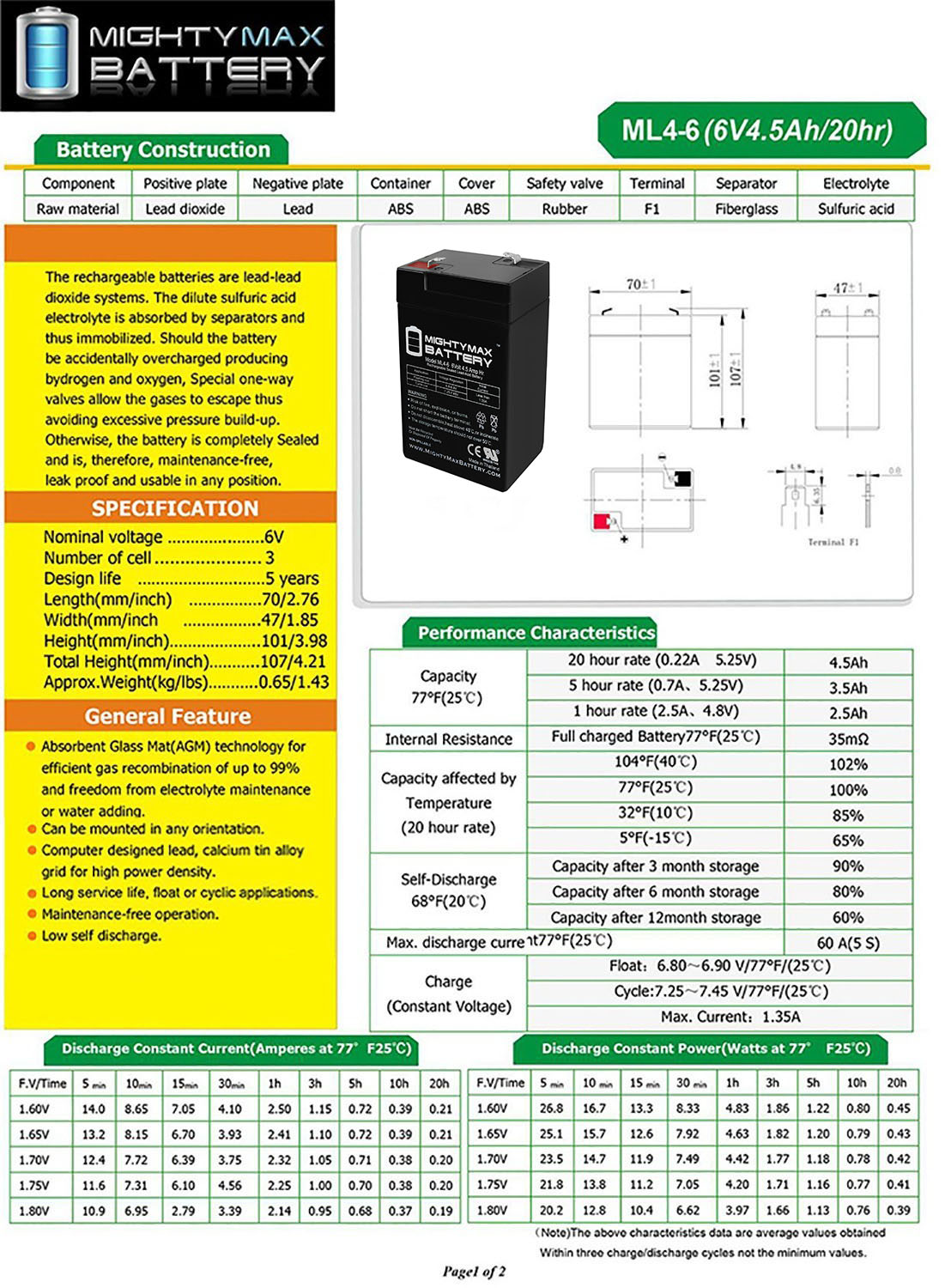 ML4-6 - 6 VOLT 4.5 AH SLA BATTERY - 4