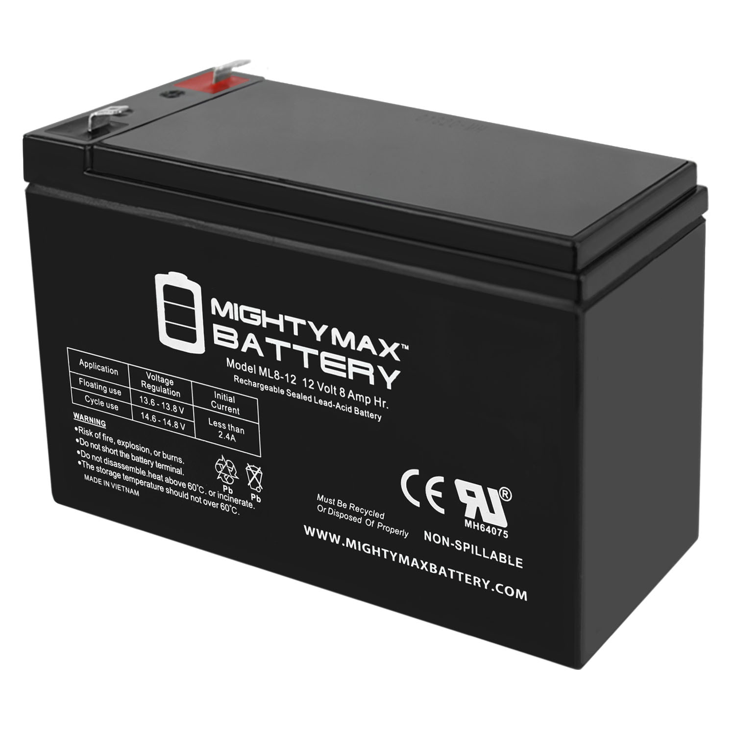 12V 8AH SLA Replacement Battery for Portalac PE12V9FZ12V