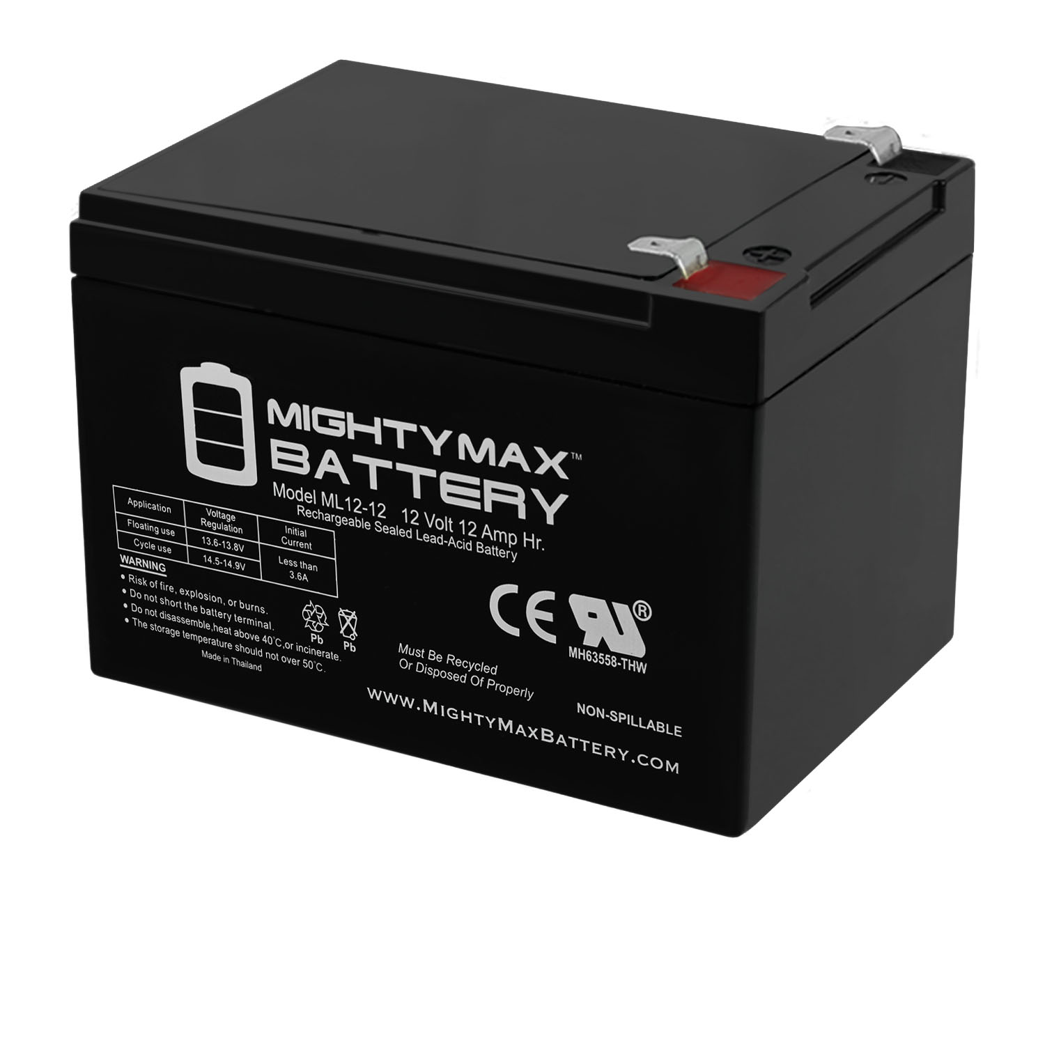 ML12-12 - 12V 12AH F2 Replacement Battery for Peg Perego DJW12-12 DMU12-12
