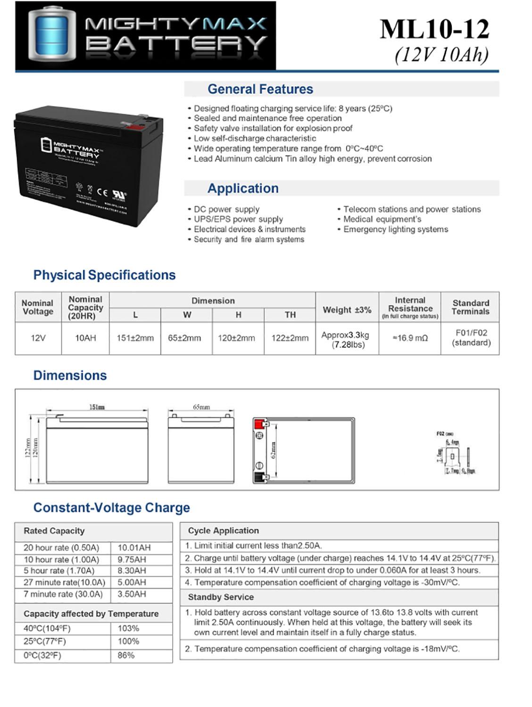 ML10-12 - 12 VOLT 10 AH SLA BATTERY - 4