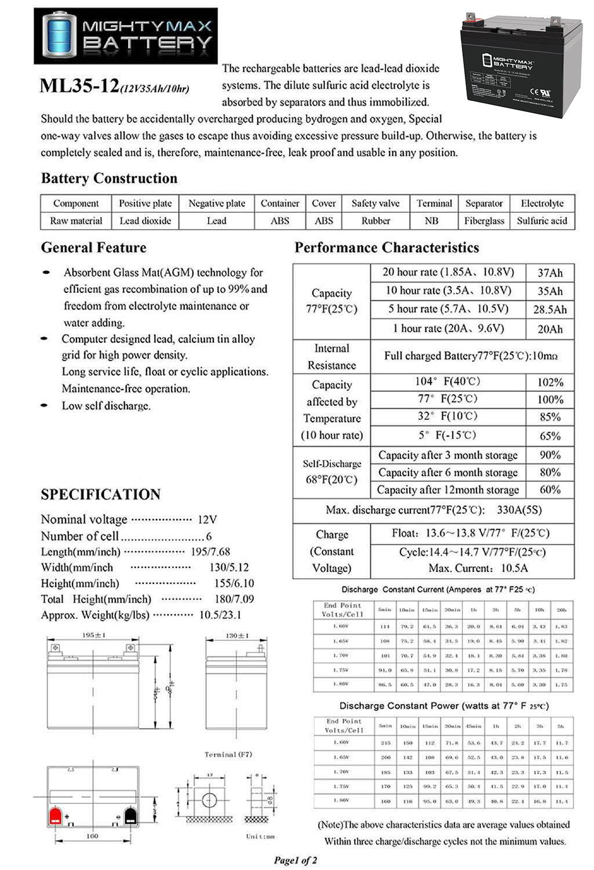 ML35-12 - 12 VOLT 35 AH SLA BATTERY - 4