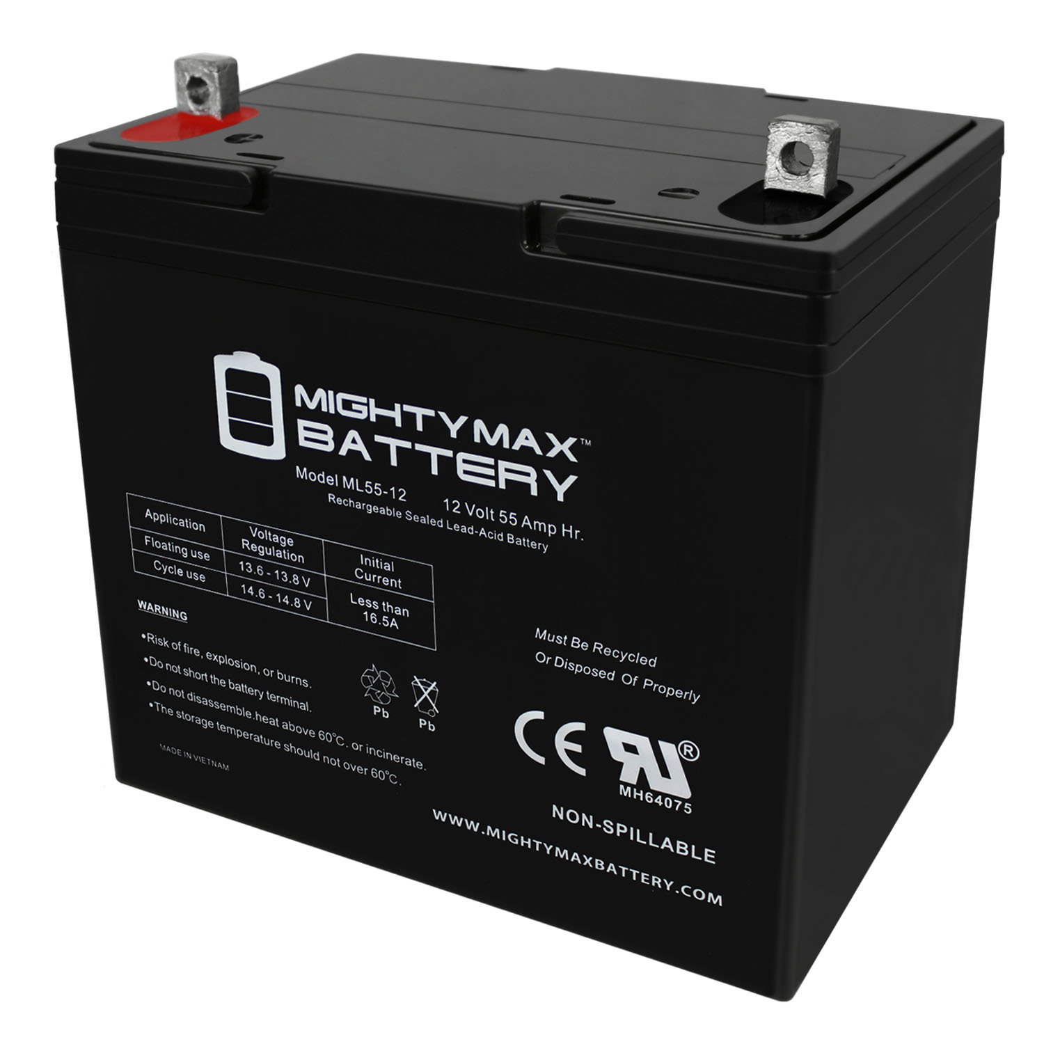 12V 55Ah Battery Replacement for Pride Jazzy Pwt Seat Patriot
