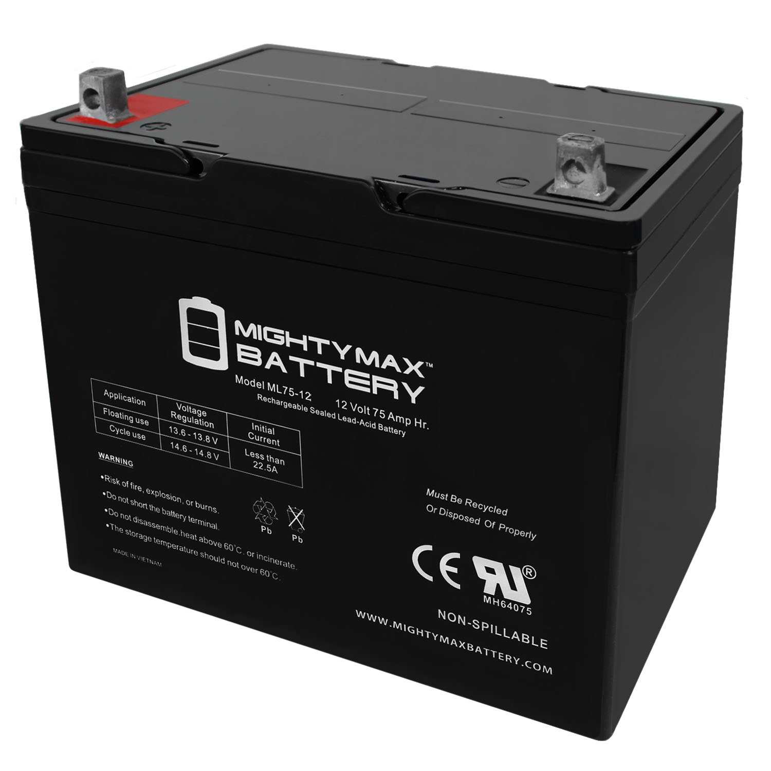 12V 75Ah Replacement Battery Compatible With Newton