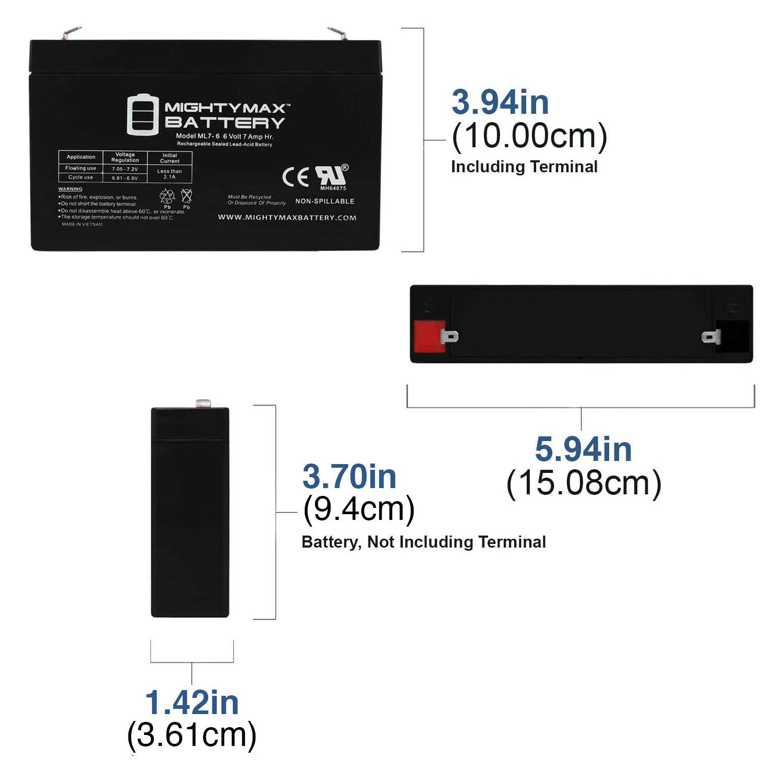 ML7-6 6V 7AH SLA Battery F1 Terminal - 1