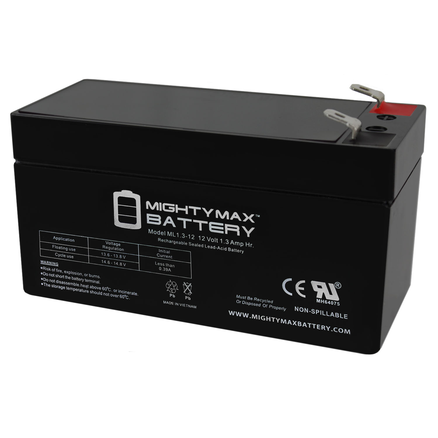 ML1.3-12 - 12 VOLT 1.3 AH SLA BATTERY