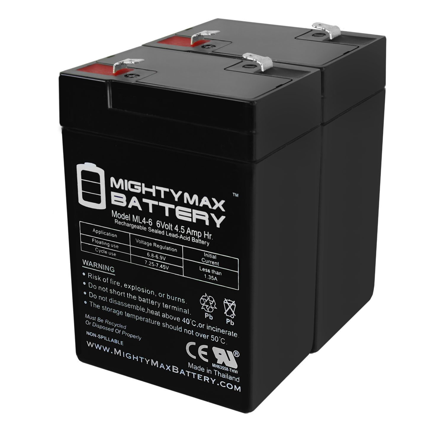 6V 4.5AH SLA Replacement Battery for ADT Scooter Bike - 2 Pack