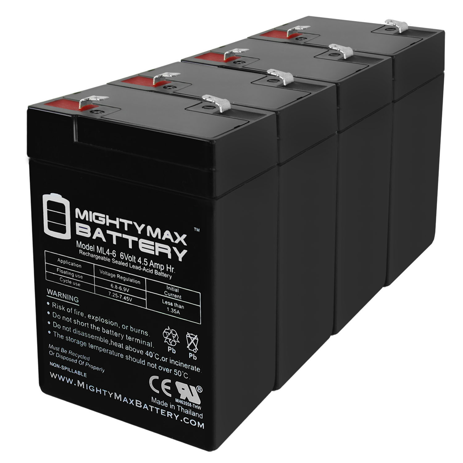6V 4.5AH Battery for Kid Trax Disney Ride On Toy KT1123TR - 4 Pack