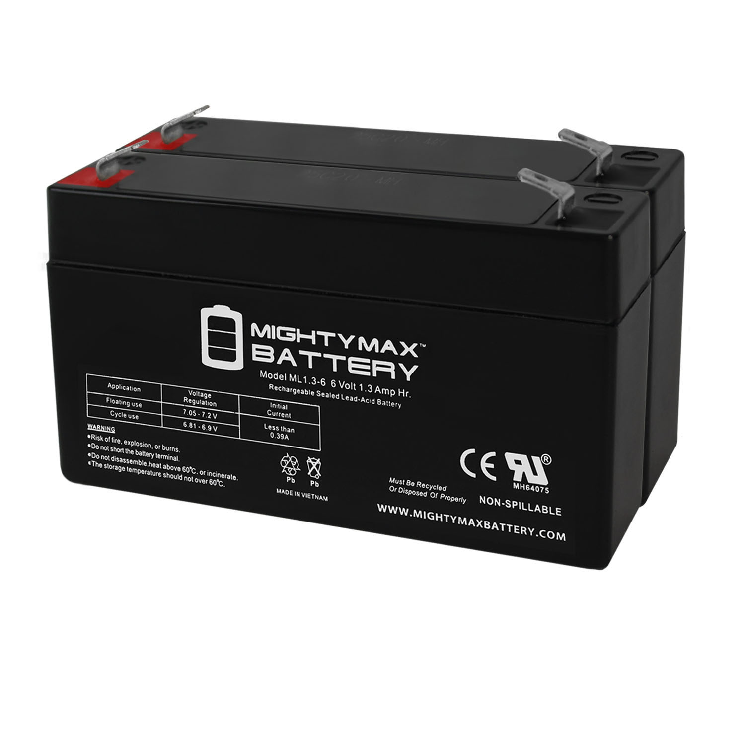 6V 1.3AH SLA Battery Replacement for Exitronix EX6V1.2A - 2 Pack
