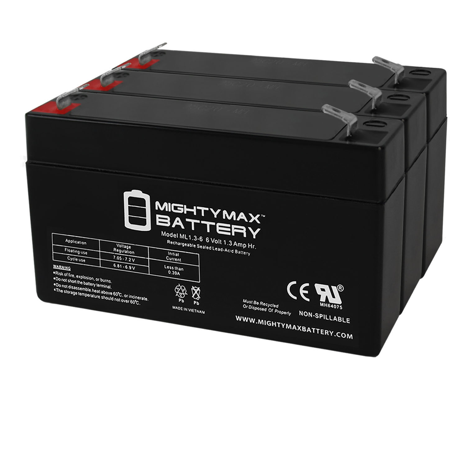 6V 1.3AH SLA Battery Replacement for Exitronix EX6V1.2A - 3 Pack