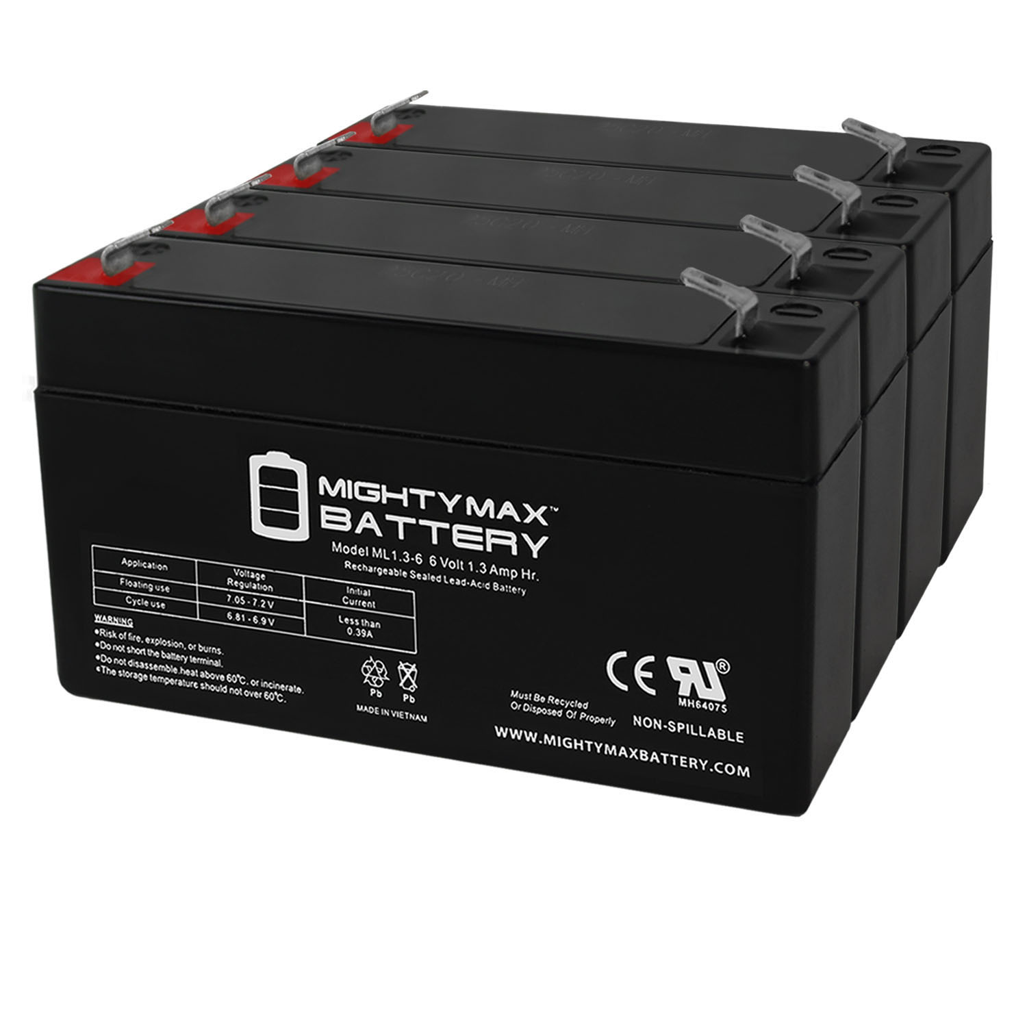 6V 1.3AH SLA Battery Replacement for Exitronix EX6V1.2A - 4 Pack