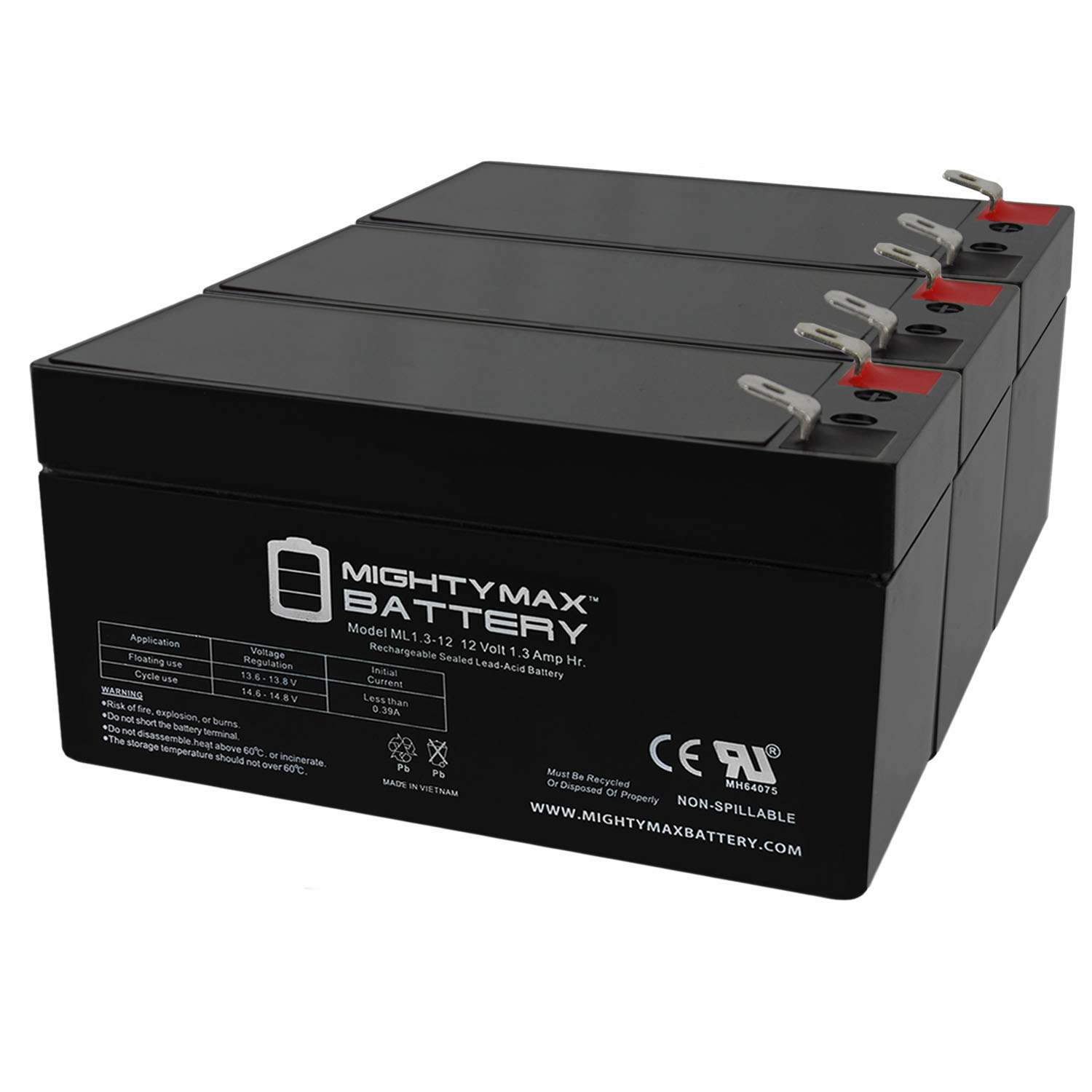 ML1.3-12 - 12 VOLT 1.3 AH SLA BATTERY - PACK OF 3