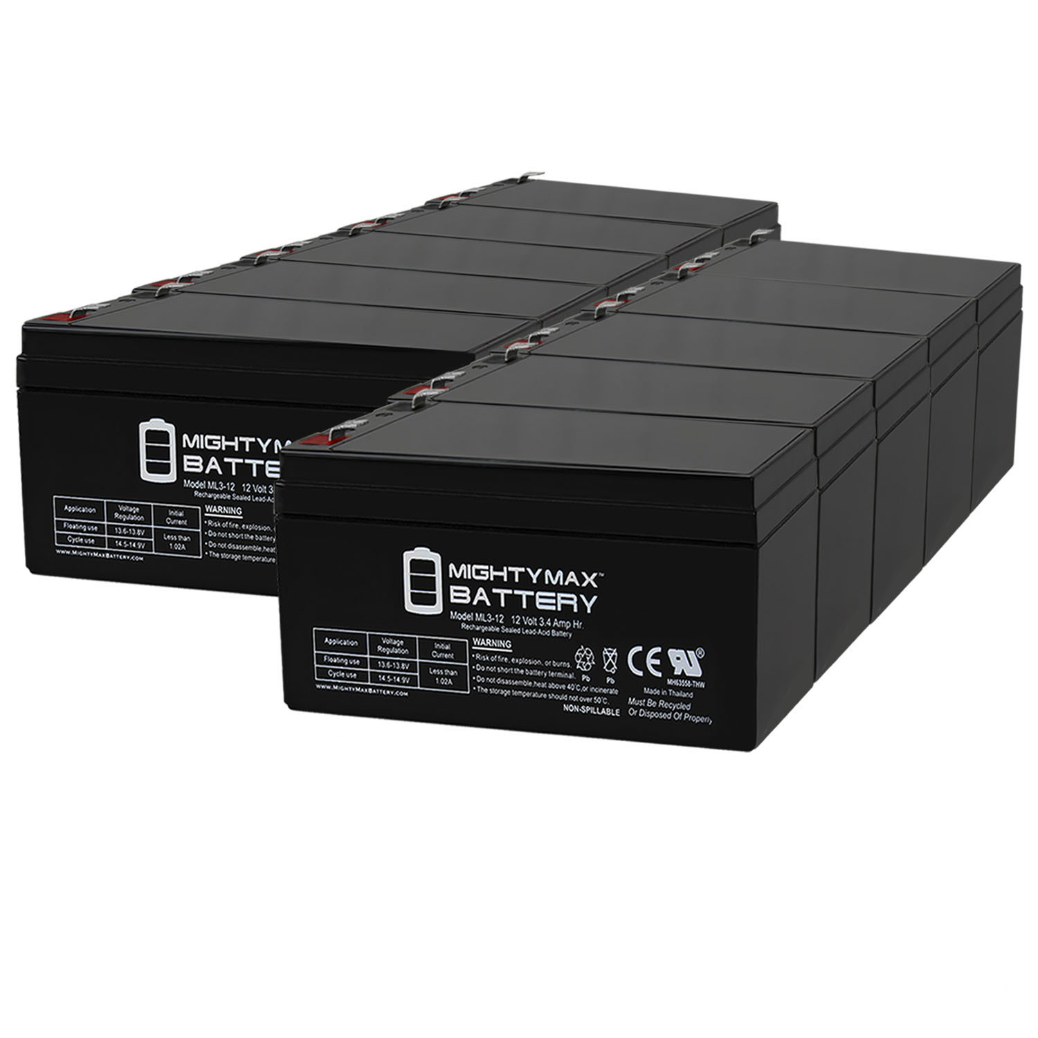 ML3-12 - 12 VOLT 3 AH SLA BATTERY - PACK OF 10