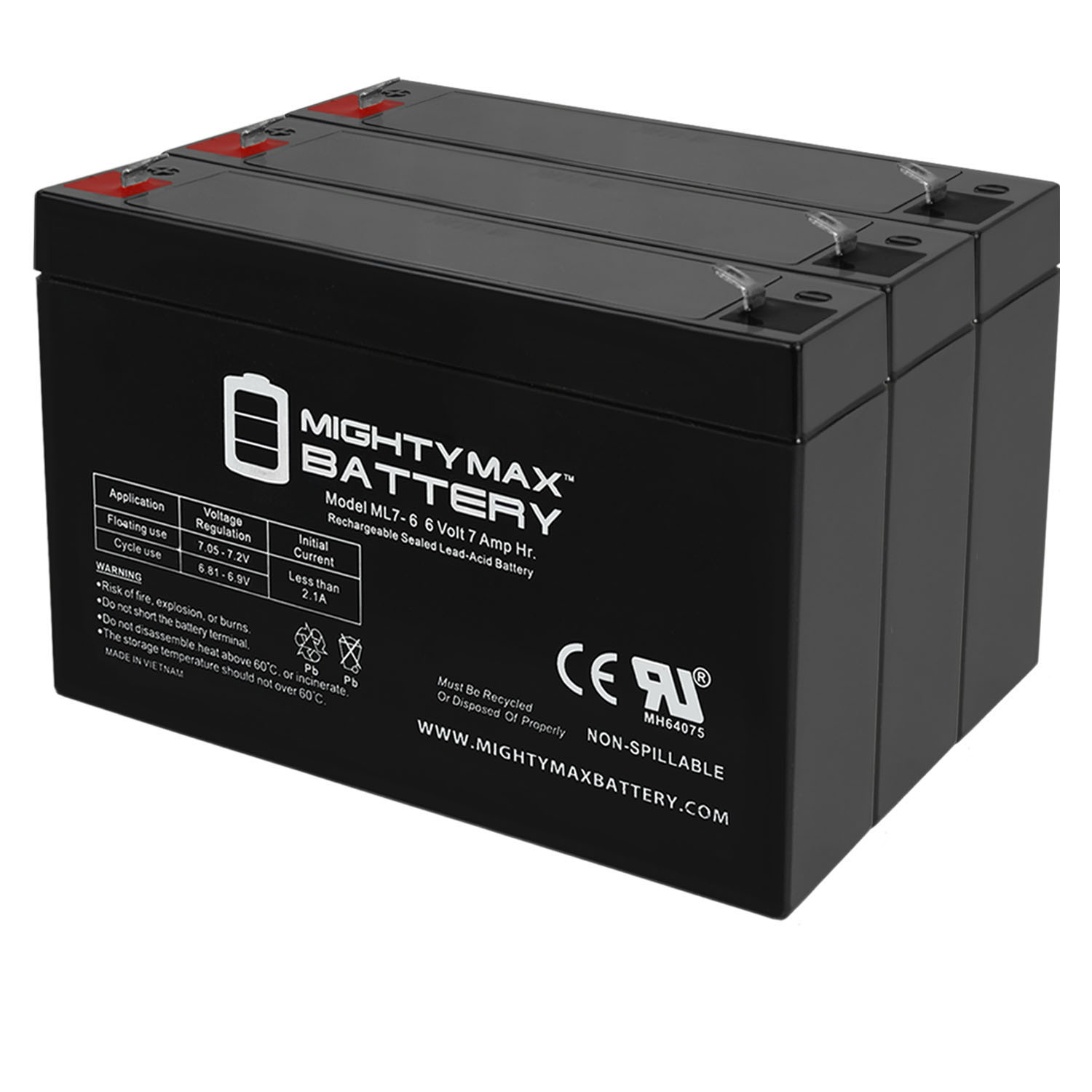 ML7-6 6V 7AH SLA Battery F1 Terminal - PACK OF 3 - 0