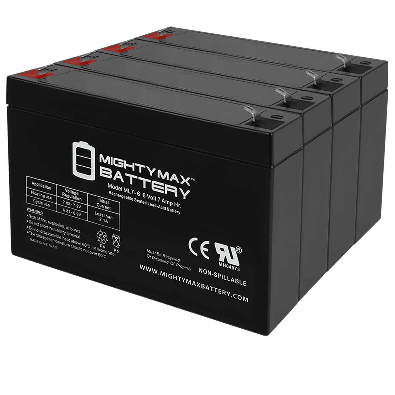 6V 7Ah SLA Battery Replacement for Cooper Lighting 02645SP - 4 Pack