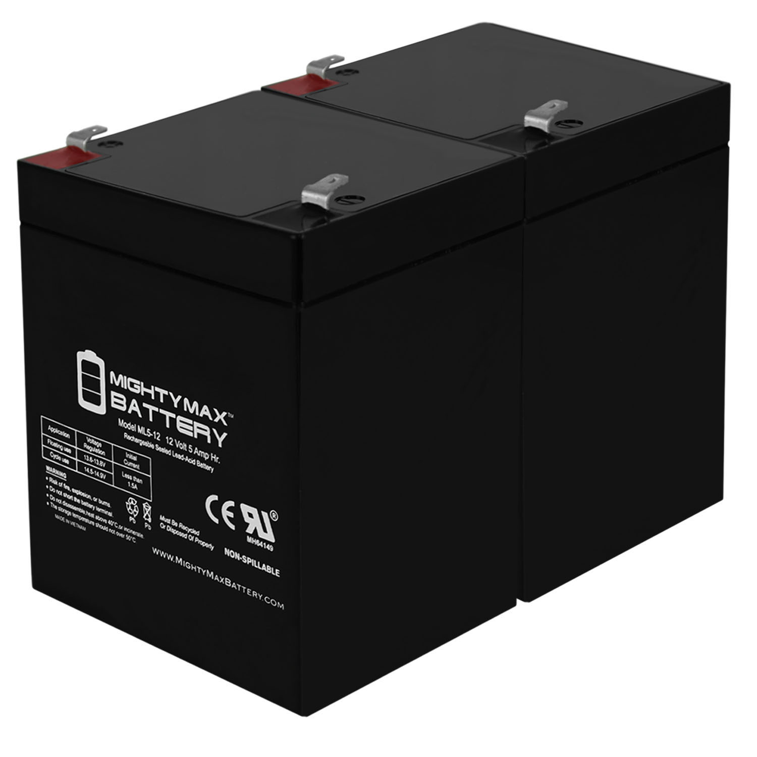 12V 5AH SLA Battery Replaces ADI 4110 Security System - 2 Pack