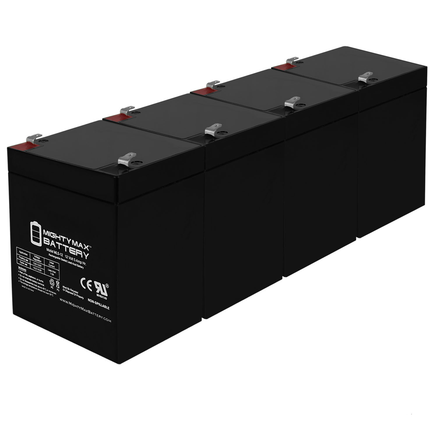 12V 5AH SLA Battery Replacement for Gas RG1250T1 - 4 Pack