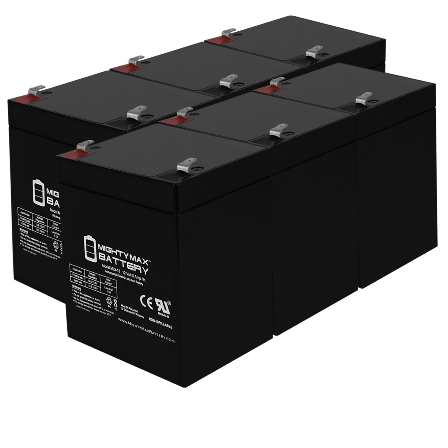 12V 5AH SLA Battery Replacement for APC BE500 - 6 Pack