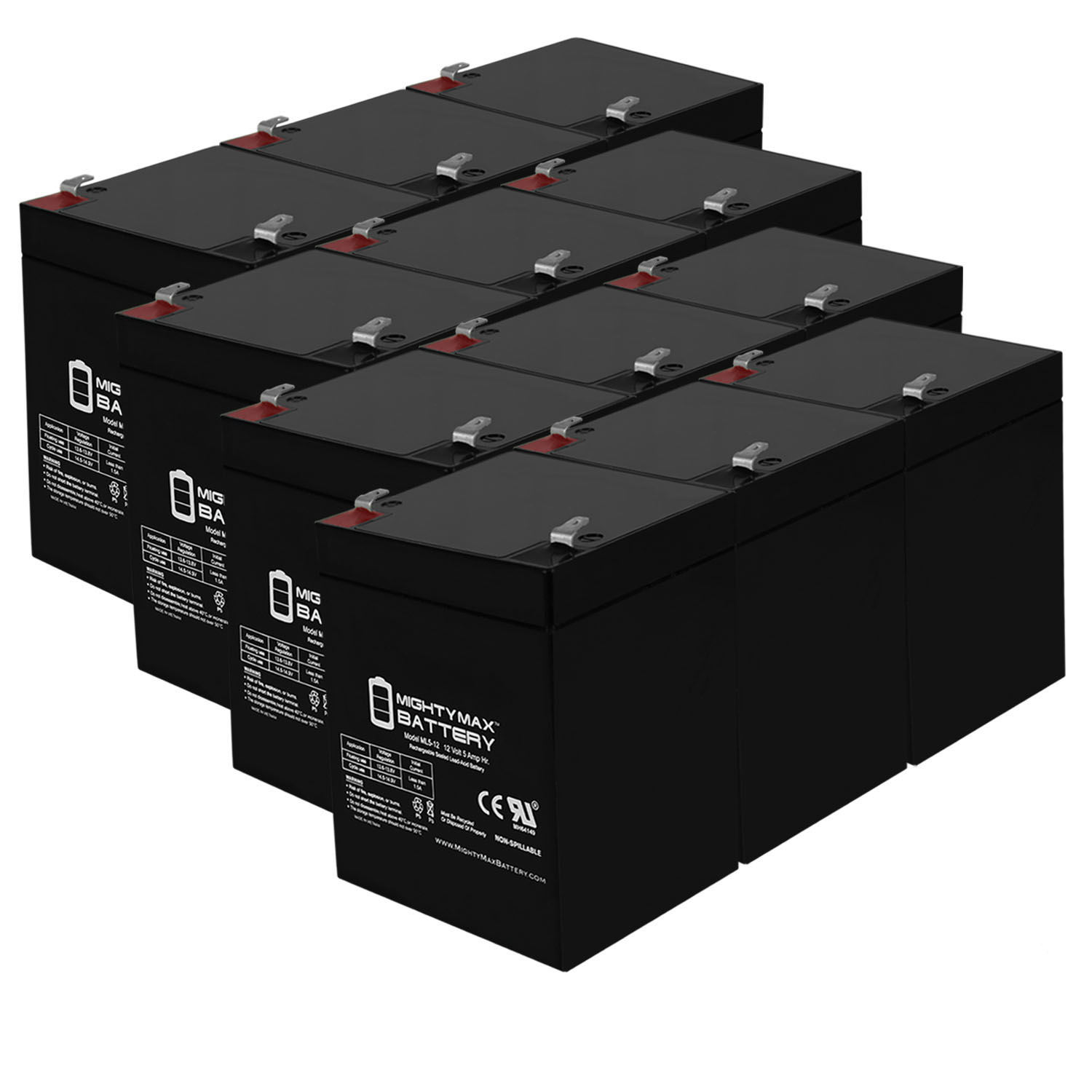 12V 5AH Battery Replacement for Dorcy Big Shot Spotlight - 12 Pack