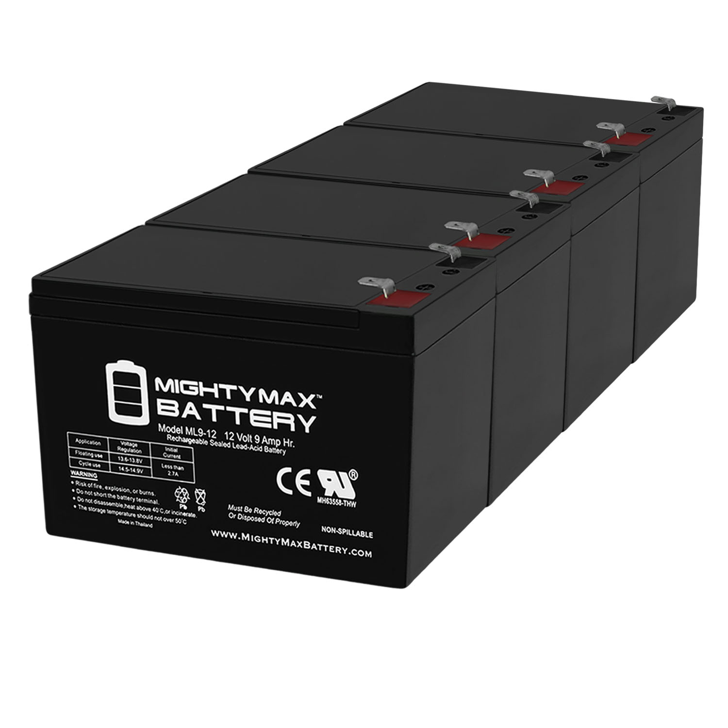 12V 9Ah SLA Battery Replacement for Razor ZR350 - 4 Pack