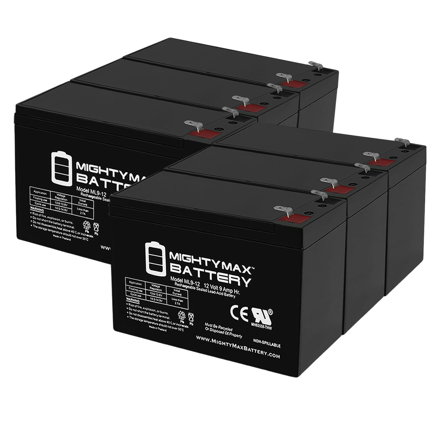 12V 9AH for Razor e200 / e200s / e225 / e300 / e300s / e325 - 6 Pack