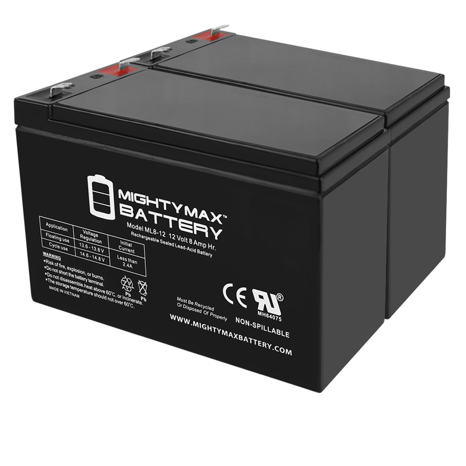 ML8-12 - 12 VOLT 8 AH SLA BATTERY - 2 Pack