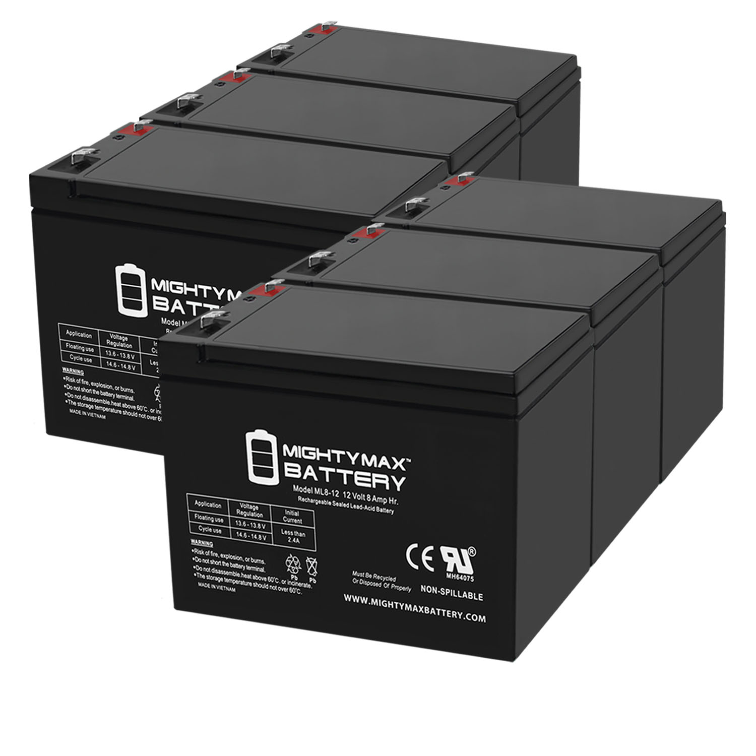 ML8-12 - 12 VOLT 8 AH SLA BATTERY - 6 Pack