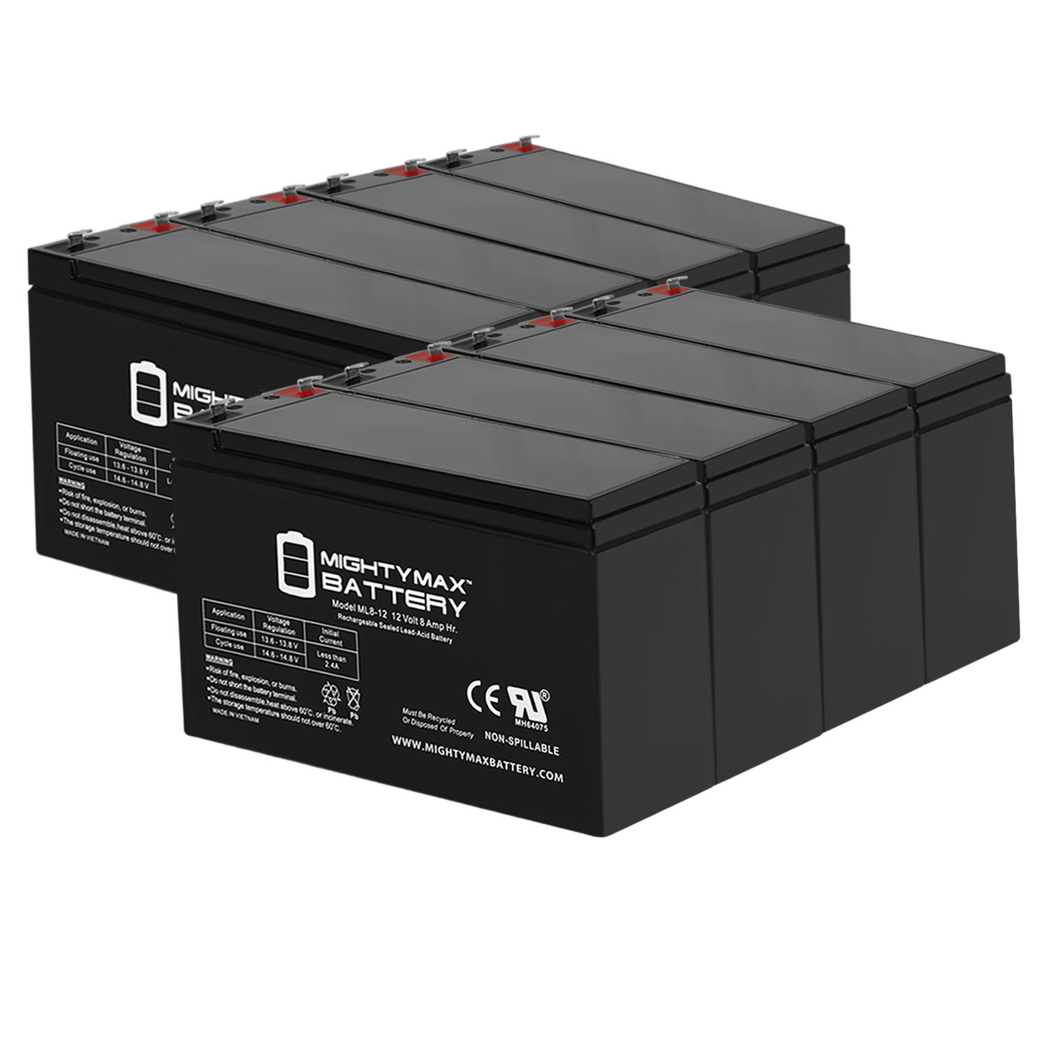 12V 8Ah SLA Battery Replacement for Razor ZR350 - 8 Pack