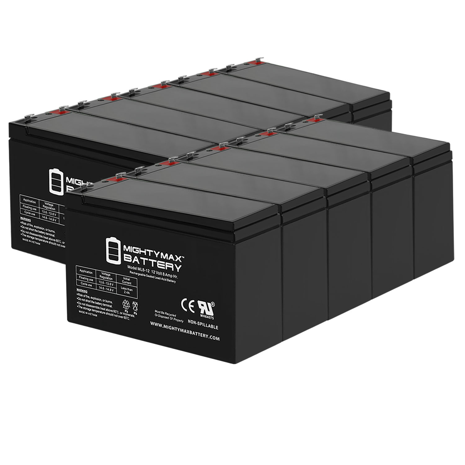 ML8-12 - 12V 8AH Replacement Battery for APC Back-UPS ES USB 650 - 10 Pack