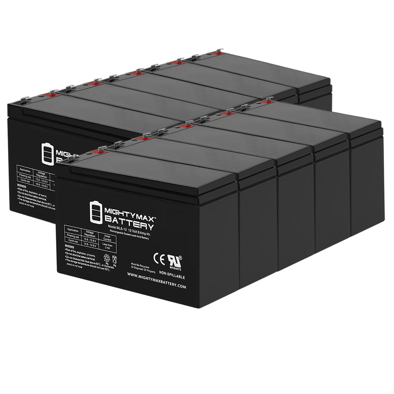12V 8Ah JohnLite 2997RL Emergency Light Battery Replacement - 10 Pack