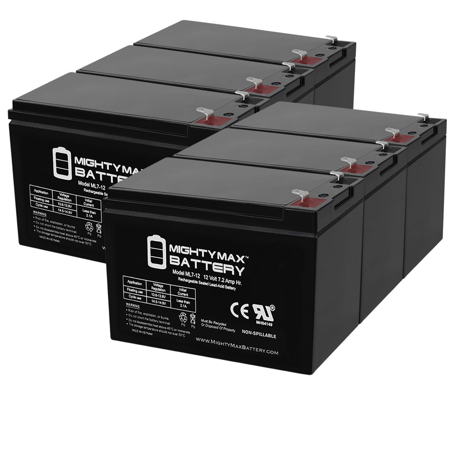 2 Pack Brand Product Mighty Max Battery 12V 7Ah Compatible Battery for UPS APC Back-UPS BK200B