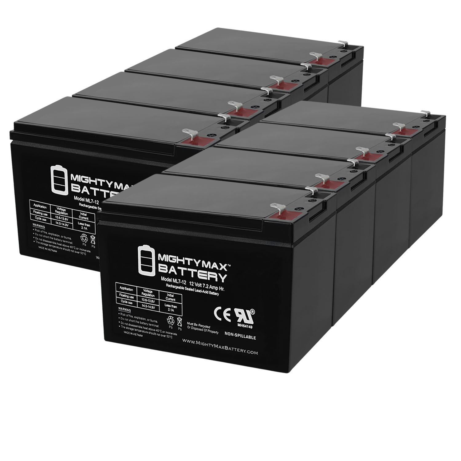 12V 7Ah Battery Replacement for X-treme X-500, X500 Scooter - 8 Pack