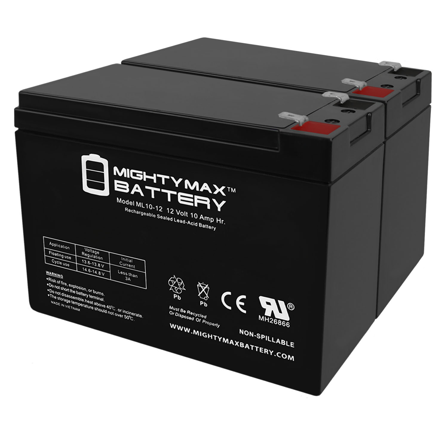 12V Charger Mighty Max 12V 10AH Battery Replaces Apollo AV-2 Evolution Scooter
