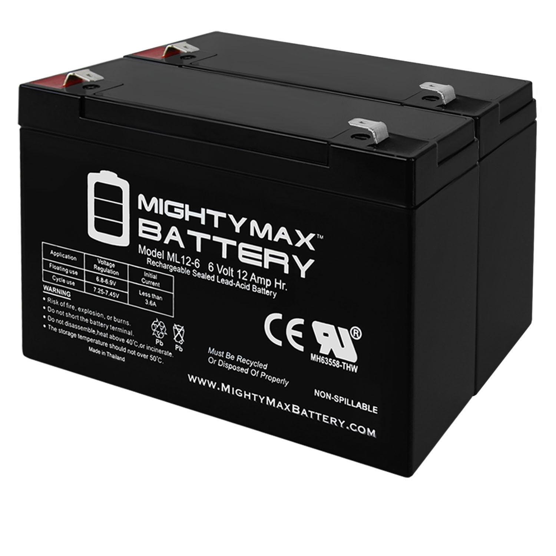 6V 12AH F2 SLA Battery Replaces Zareba 10 Mile Solar Charger - 2 Pack