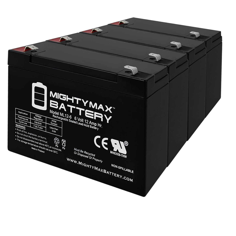 6V 12AH F2 SLA Battery Replaces Zareba 10 Mile Solar Charger - 4 Pack