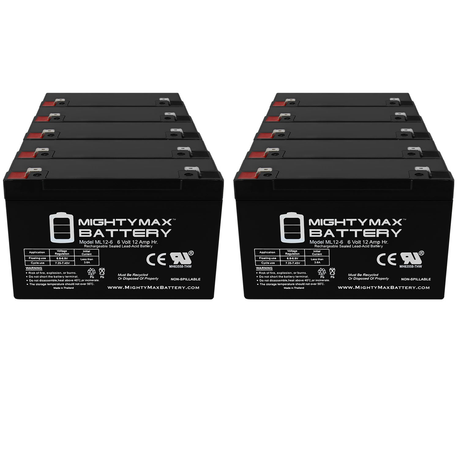 6V 12AH F2 Battery works with Modified Powerwheels - 10 Pack