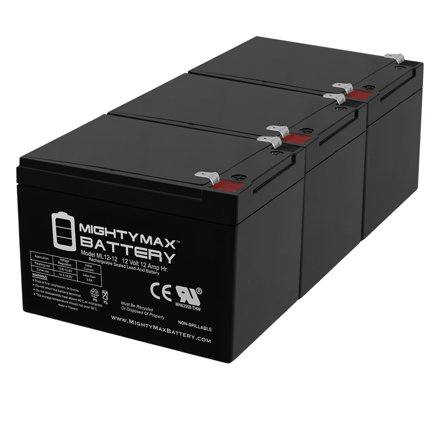 12V 12AH F2 KID TRAX RECHARGEABLE REPLACEMENT BATTERY - 3 Pack