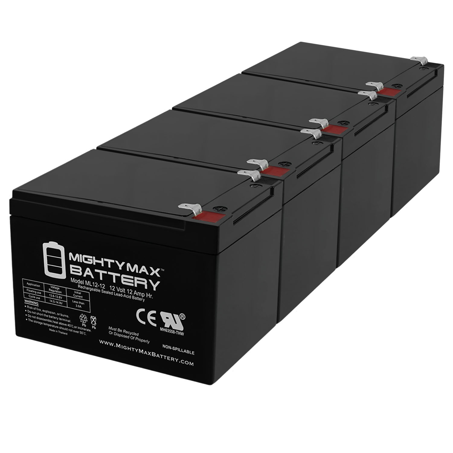 12V 12AH Battery Replaces Adventure Hp IGOR0005 Peg Perego - 4 Pack