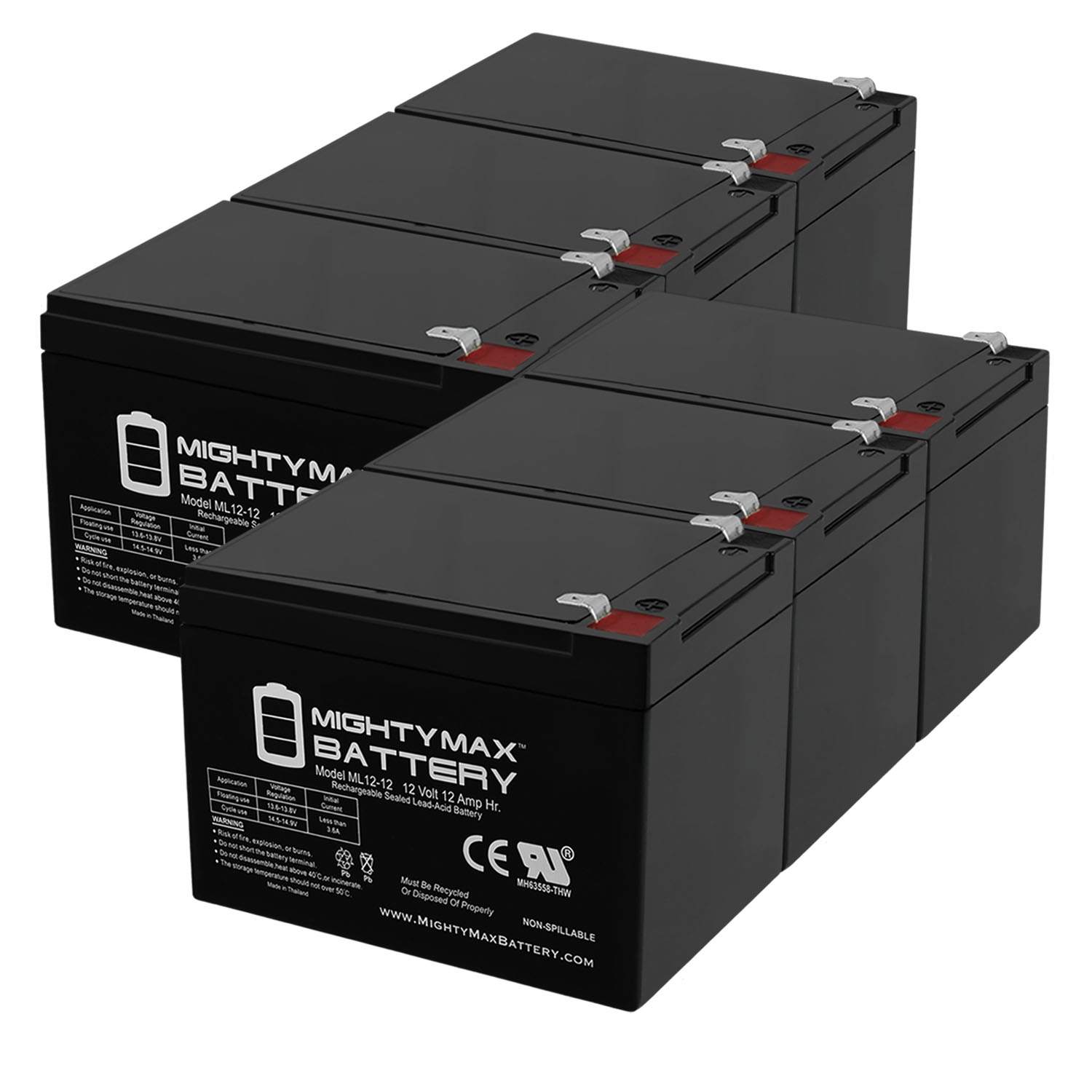 12V 12AH Battery Replaces Adventure Hp IGOR0005 Peg Perego - 6 Pack
