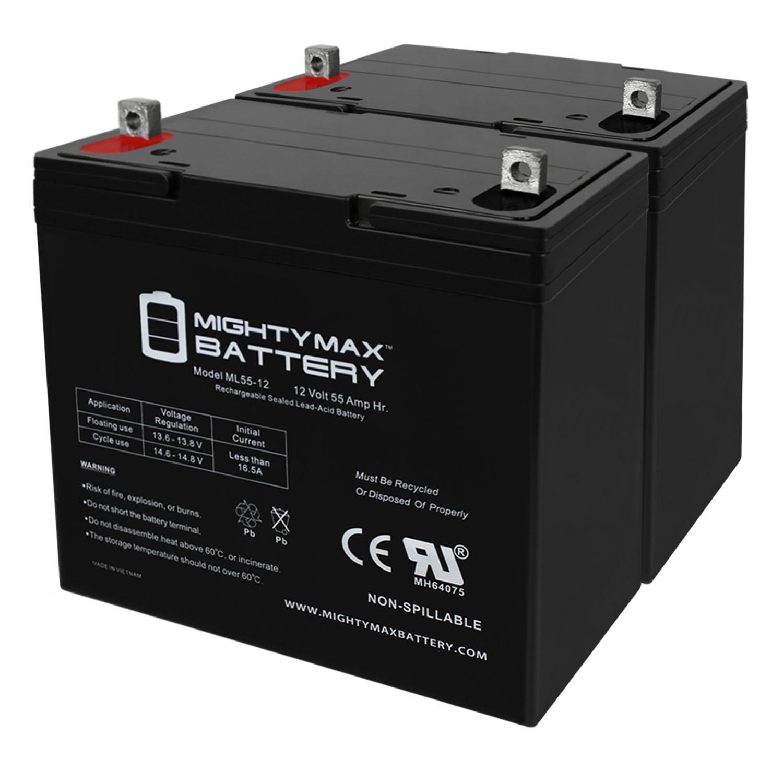 12V 55Ah SLA Battery Replacement for Renogy PV Solar Panels - 2 Pack