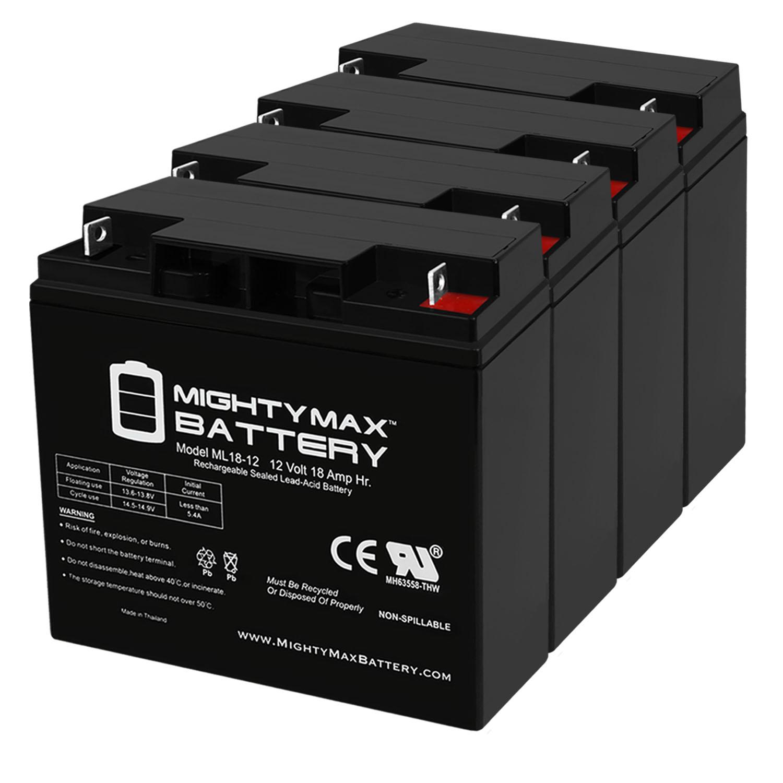 ML18-12 - 12V 18AH SLA Emergency Exit Lighting Battery - 4 Pack