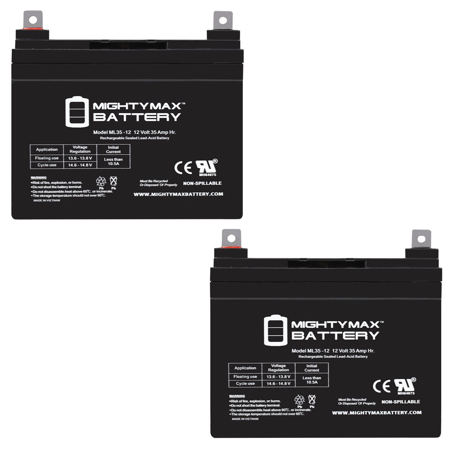 ML35-12 - 12V 35AH BEST TECHNOLOGIES BESTRBC34 BESTRBC48 FE500VA Battery - 2 Pack