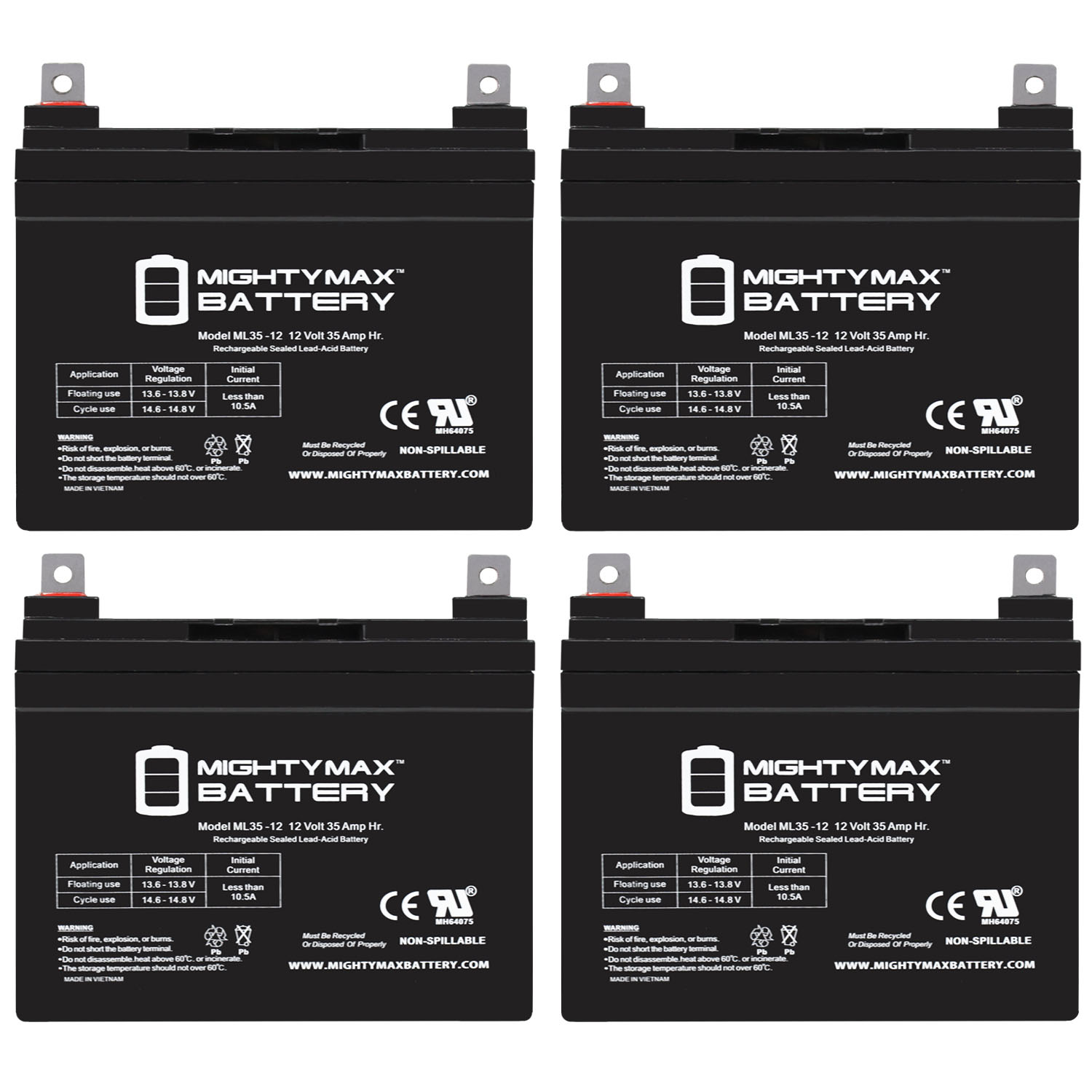 ML35-12 - 12 VOLT 35 AH SLA BATTERY - PACK OF 4