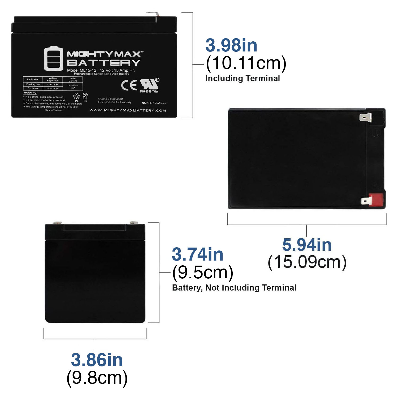 ML15-12 - 12V 15AH SLA Battery - PACK OF 3 - 1