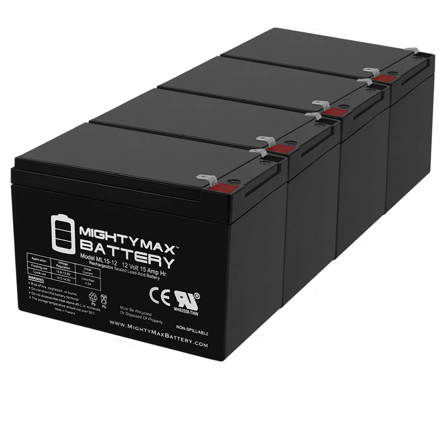 ML15-12 12V 15AH F2 Replacement Battery for RBC6 Childrens Toy Car - 4 Pack