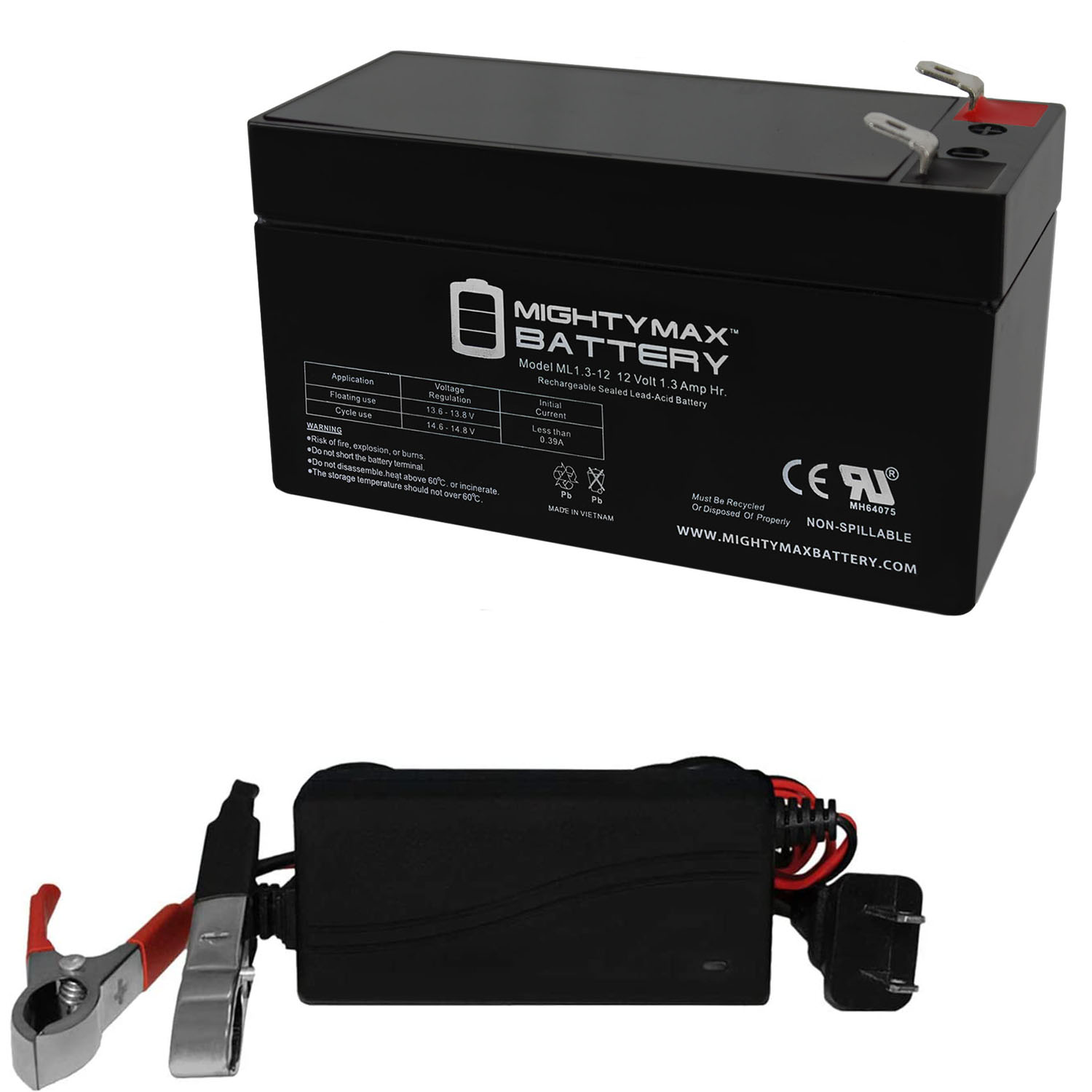 ML1.3-12 - 12 VOLT 1.3 AH SLA BATTERY INCLUDES 12V CHARGER