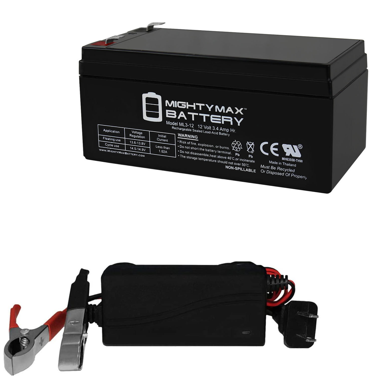 ML3-12 - 12 VOLT 3 AH SLA BATTERY INCLUDES 12V CHARGER