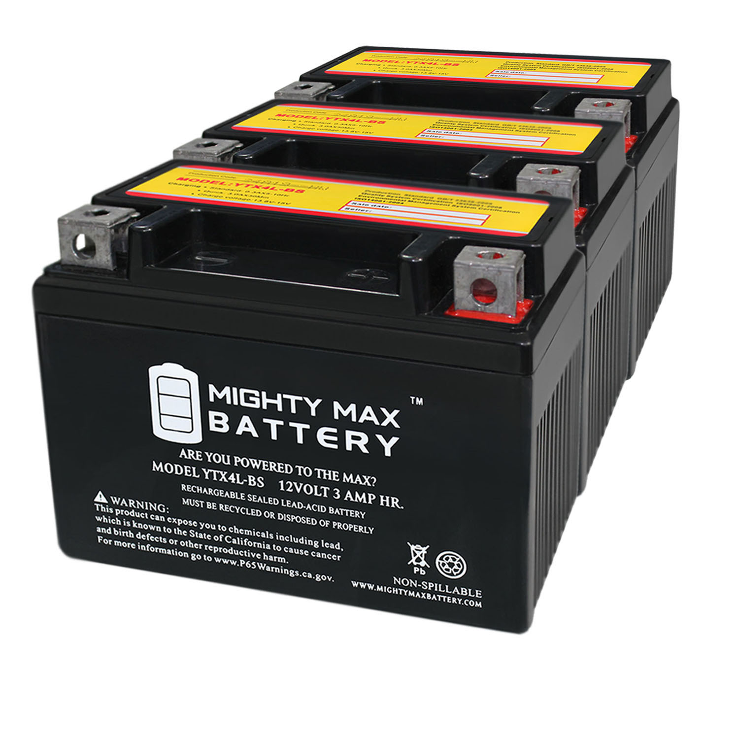 YTX4L-BS 12 VOLT 3AH MOTORCYCLE BATTERY REPLACES YTX4L-BS - 3 PACK